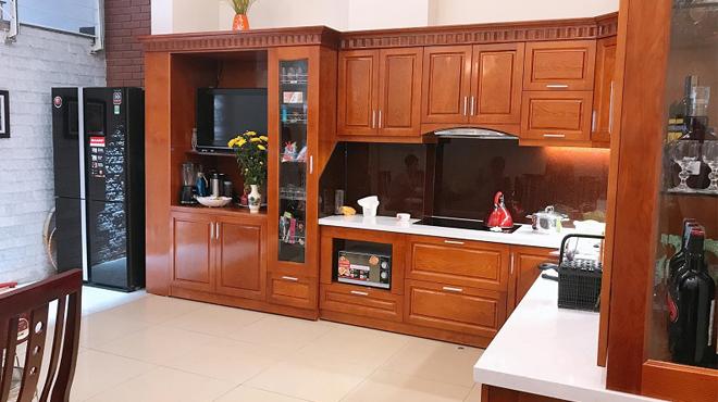 Thi công tủ bếp gỗ sồi nga nhà chú Đức, cô Hà tại Bắc Giang