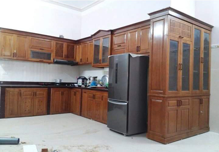 Tủ bếp gỗ xoan đào XD06