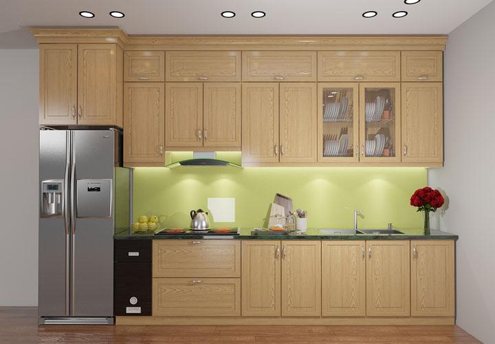 Tủ bếp gỗ sồi 2 tầng