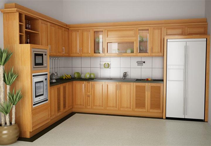 Tủ bếp gỗ xoan đào chữ L - XD03
