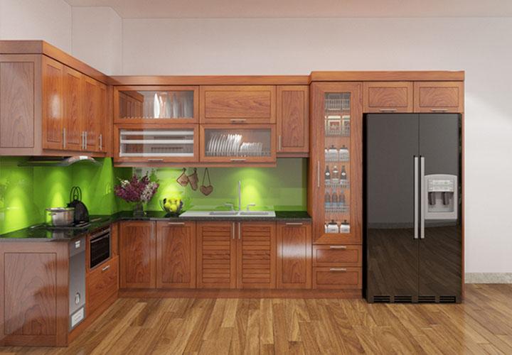 Tủ bếp gỗ xoan đào chữ L - XD02