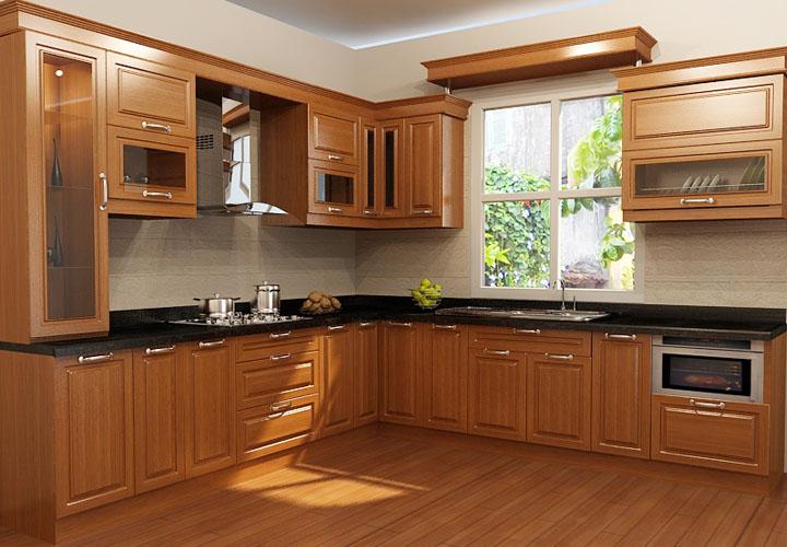 Tủ bếp gỗ xoan đào cổ điển