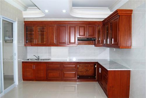 Tủ bếp gỗ xoan đào XD07
