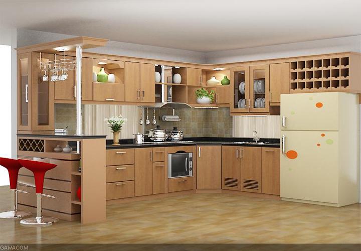 Tủ bếp gỗ sồi có quầy bar SB01
