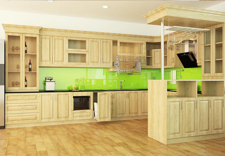 Tủ bếp gỗ sồi có quầy bar SB02