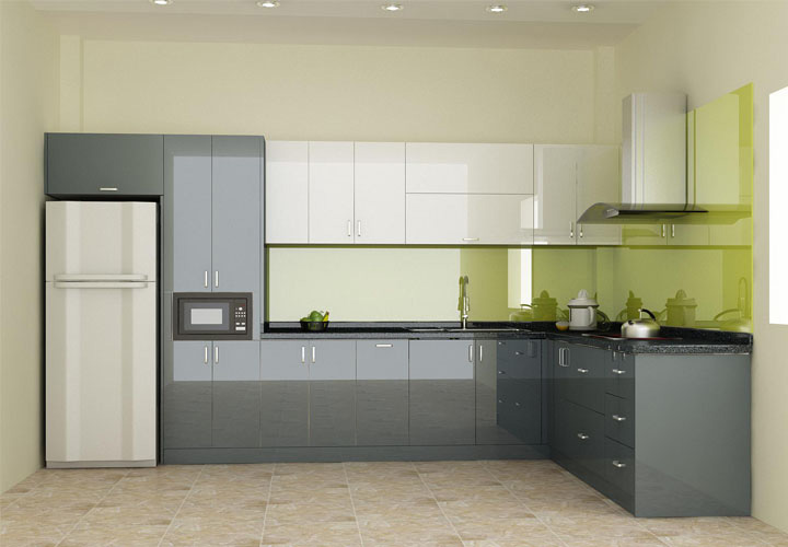 Tủ bếp inox cánh Acrylic AL04