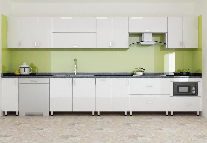Tủ bếp gỗ nhựa Picomat mặt cánh Acrylic PM04