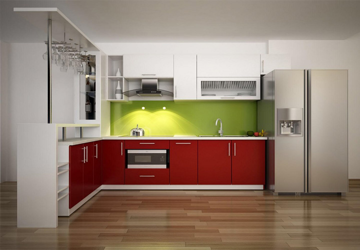 Tủ bếp gỗ nhựa Picomat mặt cánh Acrylic PM03