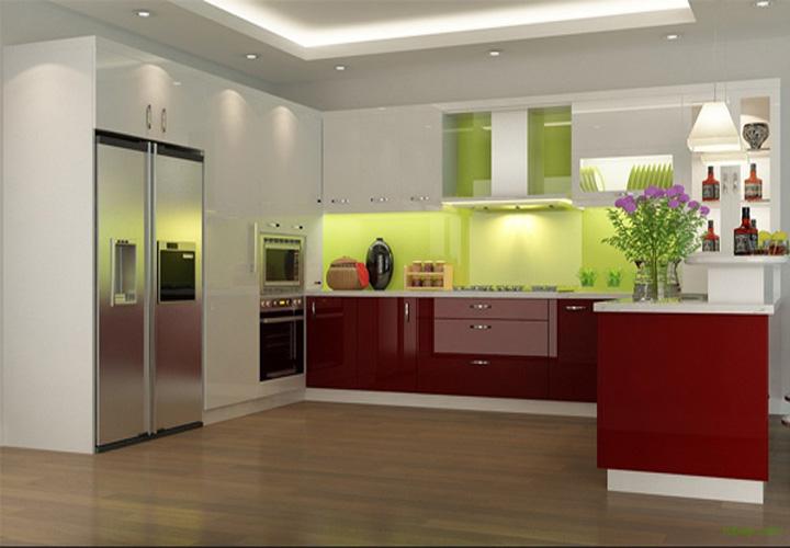 Tủ bếp gỗ An Cường mặt cánh Acrylic AC05