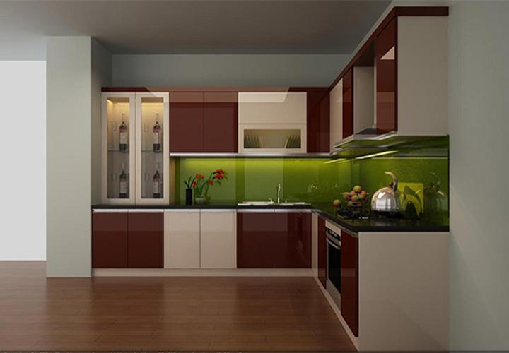 Tủ bếp gỗ An Cường mặt cánh Acrylic AC04
