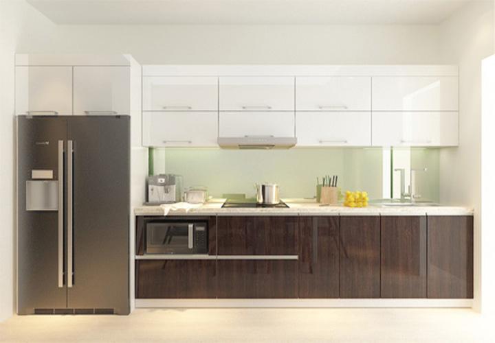 Tủ bếp gỗ xanh An Cường mặt cánh Acrylic AC01