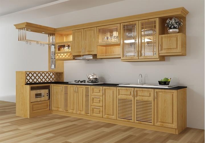 Tủ bếp gỗ xoan đào XD09
