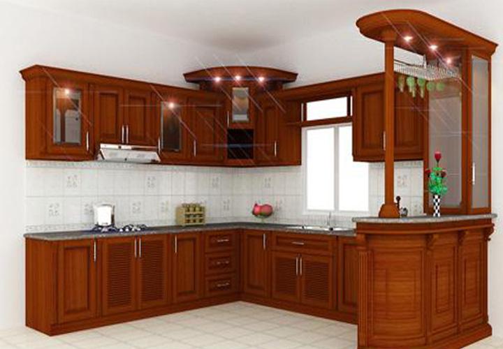 Tủ bếp gỗ xoan đào XD12