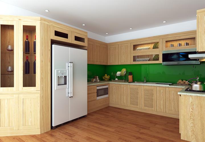 Tủ bếp gỗ sồi Nga hình chữ U SN10