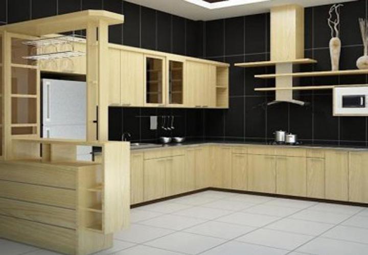Tủ bếp gỗ sồi hình chữ U S06