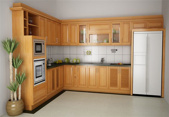 Tủ bếp gỗ sồi hình chữ L S07