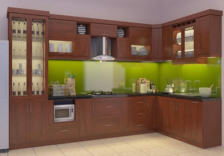 Tủ bếp gỗ xoan đào XD13
