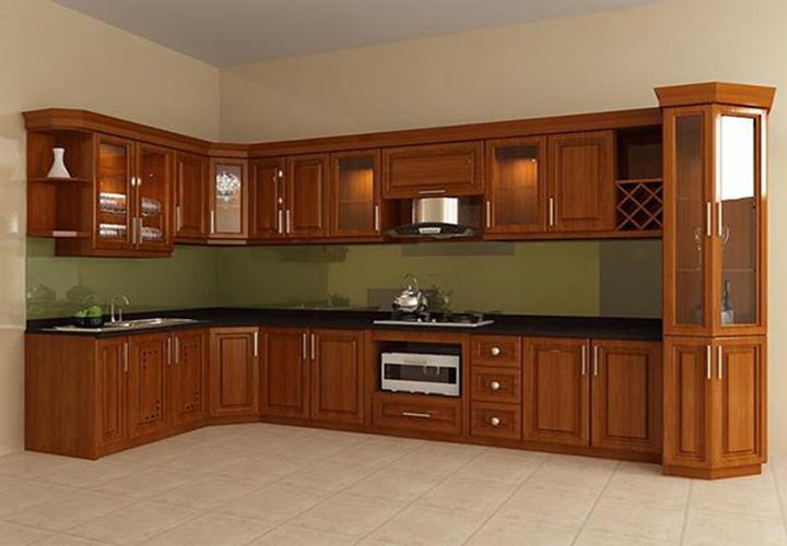 Tủ bếp gỗ xoan đào XD15