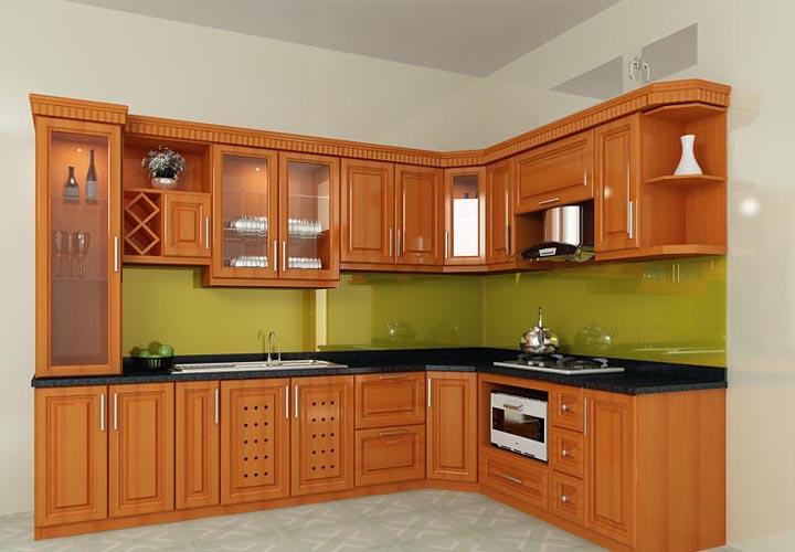 Tủ bếp gỗ xoan đào XD16