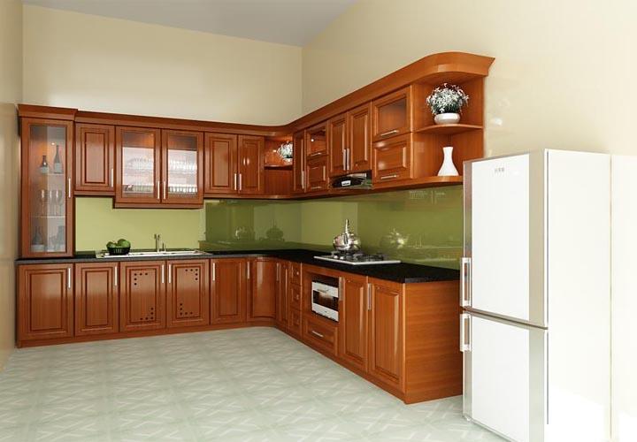 Tủ bếp gỗ xoan đào XD17