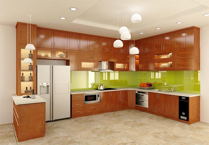 Tủ bếp gỗ xoan đào XD19