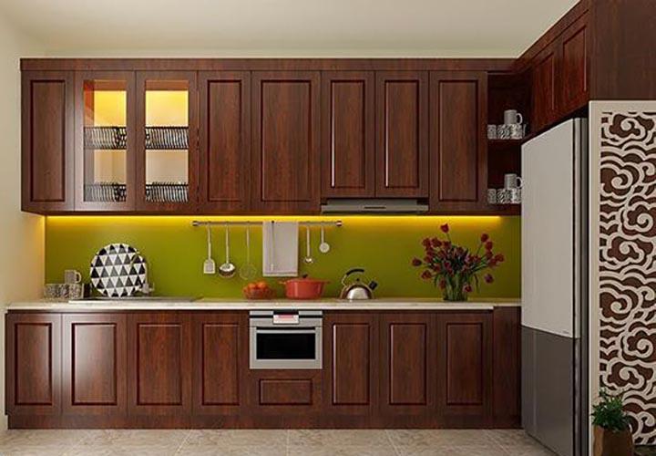 Tủ bếp gỗ xoan đào XD21