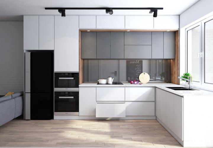 Tủ bếp gỗ Aclyric chữ L màu trắng- AC4