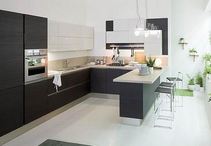 Tủ bếp Acrylic chữ U đẹp