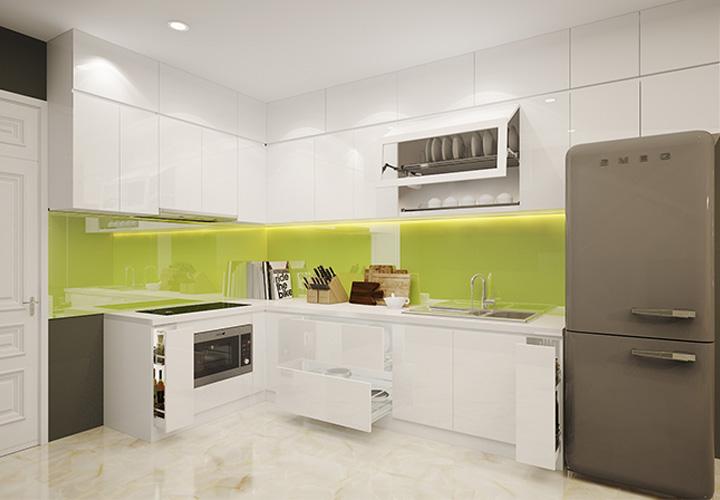 Tủ bếp Acrylic trắng tinh khôi