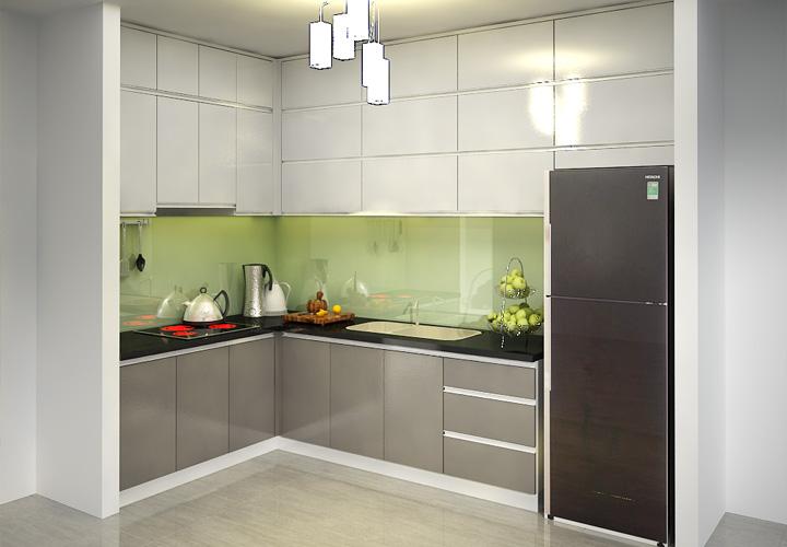 Tủ bếp Acrylic chữ L - AC17